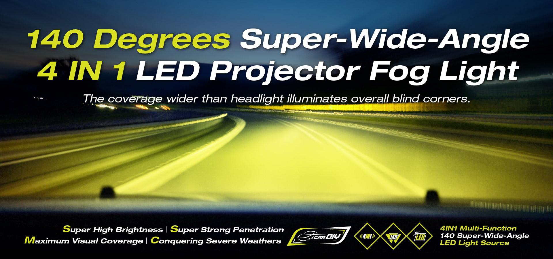 A Super Wide Angle LED Projector Fog Light